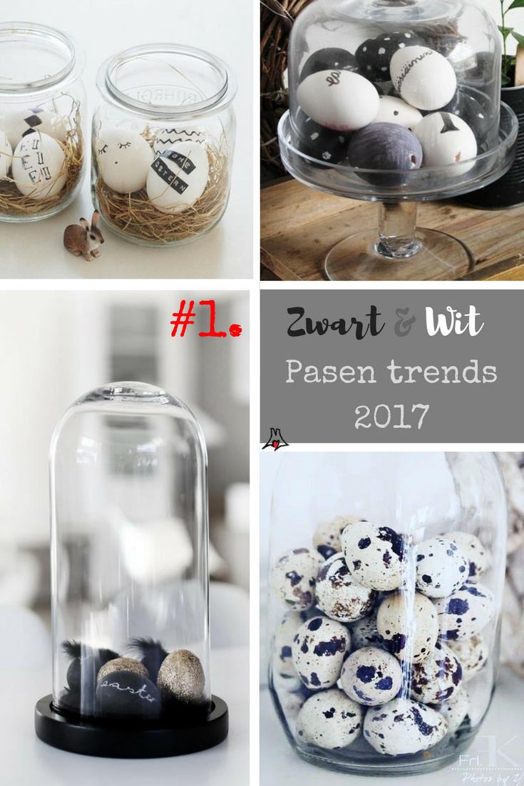 """""""Zwart wit pasen thema: glazen bol. Pasen paaseieren in glazen pot trend pasen 2017"""""""