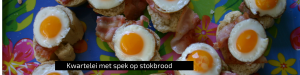 """""""Kwarteleitjes in poffertjespan - spaans hapje - kwartelei met spek op stokbrood - borrelhap - Mels Feestje"""""""