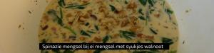 """""""Spinazie mengsel bij ei mengsel met stukjes walnoot- quiche - Kids proof quiche - makkelijk & lekker - Quiche bladerdeeg spek spinazie"""""""