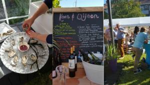 """""""Ons Tuinfeest juli 2016. Bubbels en oesters. Mooie wijnen en lekkere kaasjes beschreven op een krijtbord. Sfeer impressie van een tuinfeest met lekkere hapjes. Mels Feestje"""