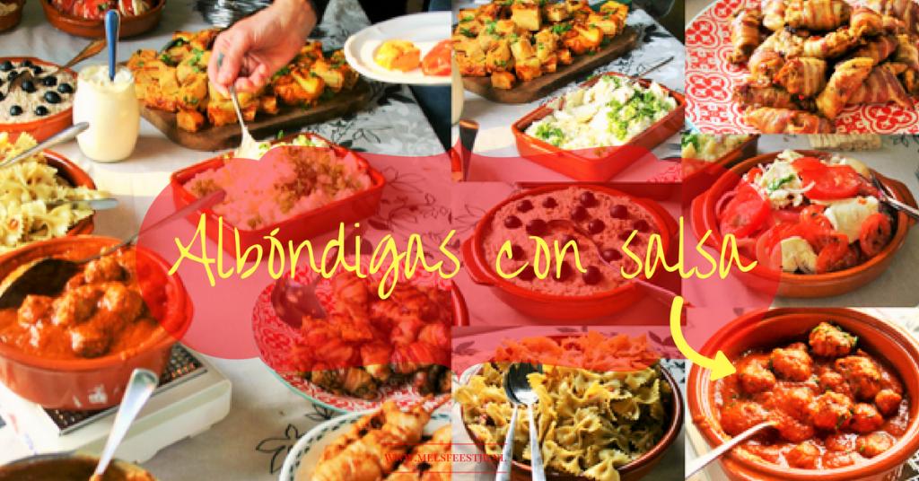"""""""8 makkelijke tapas - Albóndigas con salsa. Spaanse heerlijk gekruide gehaktballetjes in een pittige tomatensaus. Afgeblust met rode wijn wat een geweldige smaak geeft - voor op de tapas tafel - Mels Feestje"""""""