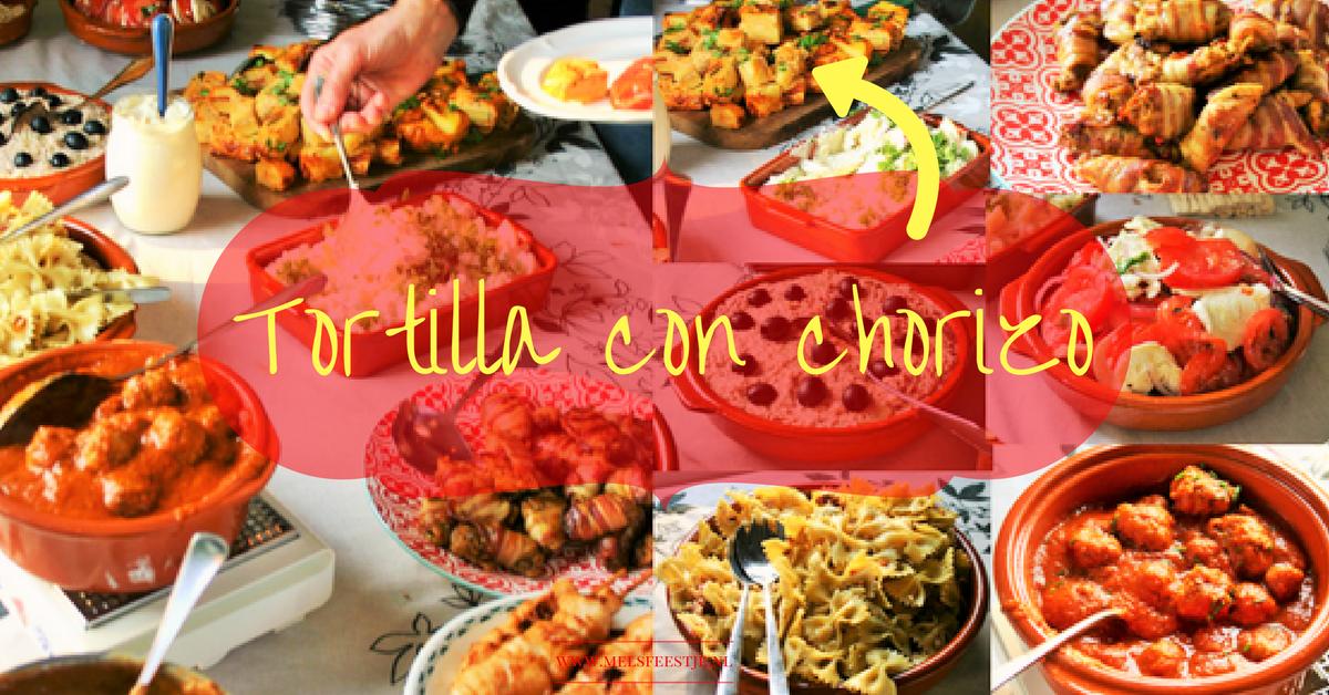 8 makkelijke tapas - Tortilla de patatas con chorizo - De beroemdste Spaanse aardappel omelet met chorizo, knoflook en ui -Tapasfeestje - Mels Feestje