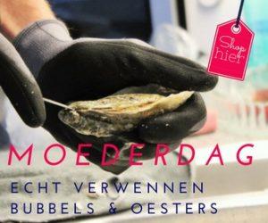 """Bubbels & oesters. Verwen mij op Moederdag met oesters & bubbels en ik ben de gelukkigste (stief)moeder. Serveer de oesters op een mooie schaal met ijs, vinaigretje erbij en een bubbel in een champagneglas. 6x Moederdag inspiratie - Mels Feestje"""""""