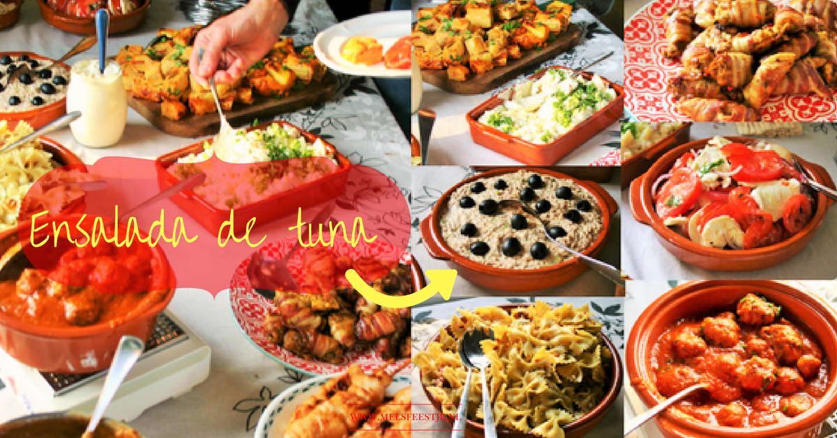 """Tonijnsalade - 8x makkelijke tapas - Simpele succesvolle Spaanse heerlijke tonijnsalade - Fris door augurkjes -  Spaans door de versiering met zwarte olijven – BBQ – Tapasfeestje – mels Feestje"""""""""""