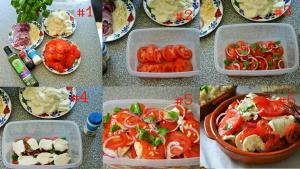 In 6 stappen een Tortilla Ensalada caprese de tomate y mozzarella - Zomerse Spaanse tomaten salade met mozzarella knoflook uienringen en