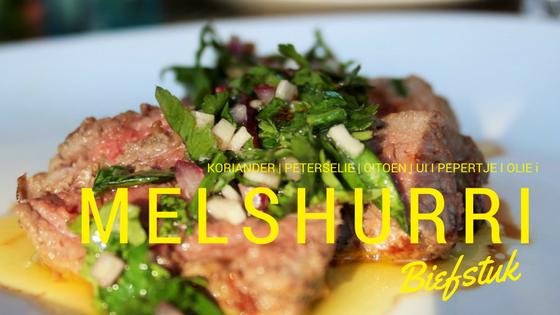 """Melchurri - Geïnspireerd op chimichurri met koriander - snijd je rode biefstuk in reepjes en strooi er rijkelijk wat melshurri over - koriander citroen peterselie knoflook ui olie pepertje - feesthappen - mels feestje"""""""