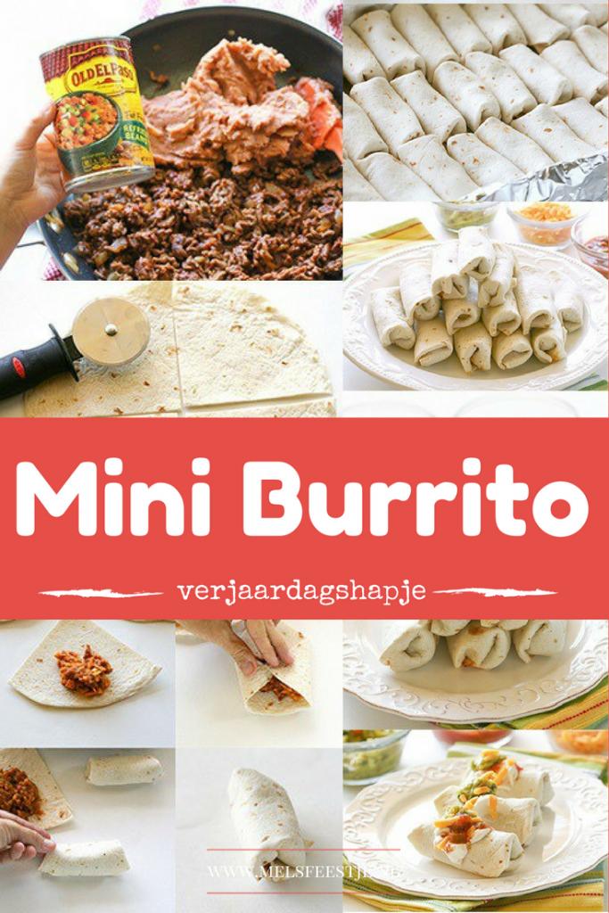 Mexicaanse Mini burrito - Recepten voor Mexicaans thema verjaardag hapjes van Pinterest - Mels Feestje