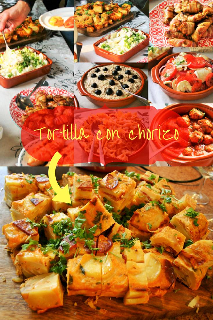 """8x makkelijke tapas. Tortilla de patatas con chorizo, de beroemdste Spaanse aardappelomelet met chorizo, knoflook en ui. makkelijk & heerlijk op je Tapasfeestje, maar eigenlijk kan deze tortilla op elke buffet tafel, op elke verjaardag. Mels Feestje"""""""