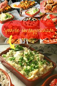 """Spaanse aardappelsalade - Een koude zomerse, vegetarische, pittig door de knoflook, super makkelijk te maken aardappelsalade - Gegarandeerd word je om het recept gevraagd, en die is geweldig – Tapasfeestje – BBQ salade – Mels Feestje"""""""""""