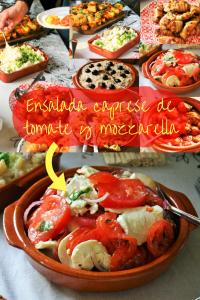 """Ensalada caprese de tomate y mozzarella - Zomerse Spaanse tomaten salade met mozzarella knoflook uienringen en basilicum - BBQ salade - Tapasfeestje - Mels Feestje"""""""""""