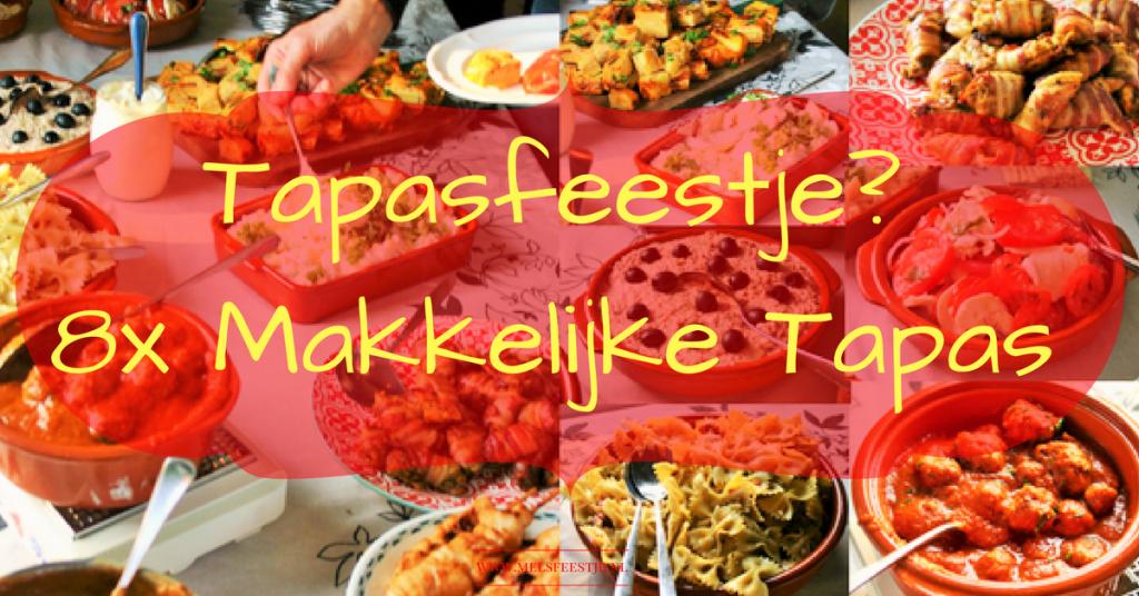"""Warm weer dit weekend! Dat schreeuwt om Spaanse tapas. Of je geeft een Tapasfeestje? 8x makkelijke tapas - Een handig overzicht met leuke recepten om jouw tapasfeestje tot een succes te maken - Hartige Spaanse plank - bruchetta - pil pil - albondigas - tortilla - kip met spek - tomaat mozzarella - salades - Mels Feestje en Feest hapje """""""