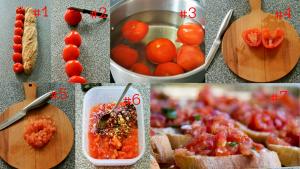 """Tomaten bruchetta - Tomaten in hele kleine stukjes zonder vel en vruchtvlees - met alles klein gesneden knoflook rode ui olie en peterselie - Zo valt het niet van je bruchetta broodje - Super leuk tussen gerecht voor op jouw tapasfeestje - Mels Feestje"""""""""""