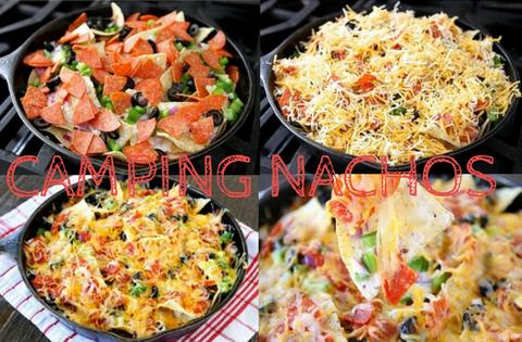 CAMPING NACHOS! Warme nachos met gesmolten kaas en crème fresh eroverheen. lekkere stukjes tomaat en ui zwarte olijven groene paprika en je hebt een Kampeer Recept - mels Feestje