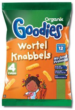 Goody Wortel Knabbels 4 zakjes. Biologische Wortel Chips in de oven gebakken mais- en aardappelknabbel met wortel en koriander. Lekkere snack voor je dreumes of baby