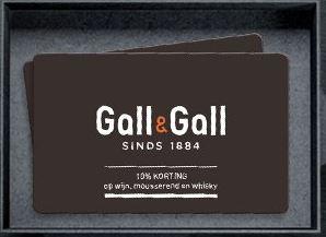 Wij hebben er zo veel plezier van, de Klantenkaart van de Gall & Gall. ALTIJD EEN STREEPJE VOOR 10% korting op alle wijn, mousserende wijn en whisky* Altijd bijzondere aanbiedingen op wijn en sterke dranken Jaarlijks een gratis wijnalmanak met de lekkerste prijswinnende wijnen Gratis abonnement op het inspirerende magazine PROEF! Hoge korting op een speciaal samengesteld wijnpakketten met wisselende thema's Altijd als eerste op de hoogte van de nieuwste wijnen Deelname aan proeverijen