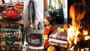 Oh wat is de Herfst gezellig ?Mooie glas rode wijn, liefste natuurlijk bij een knapperend vuurtje. Sweater weather wordtt het genoemd, een stapel wollen warme herfst truien. Lange gebreide sokken en mooie gebreide kleden. 10x herfst Sfeer Creeeren.