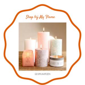 My Flame ? Geurkaarsen voor je herfst kaarsen plateau. Wij staan bekend om onze heerlijke geuren. Dit komt omdat ze veel aandacht besteden aan het samenstellen van onze geuren, in samenwerking met een gerenommeerd parfumhuis