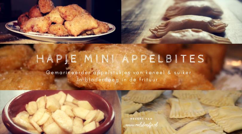 Hapje Mini appel bites - Gemarineerder appelstukjes van kaneel & suiker In bladerdeeg in de frituur - mini appelbeignets oud en nieuw borrelhap